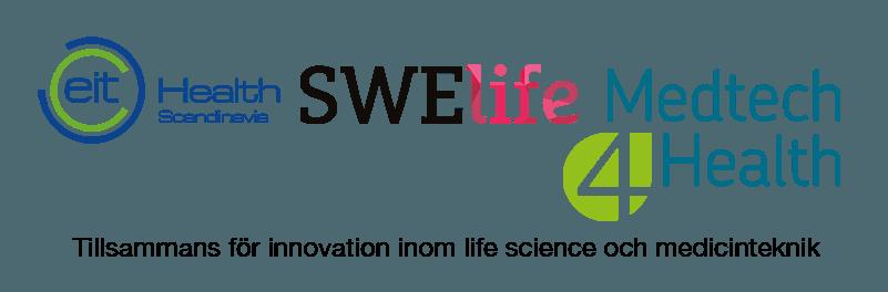 Logotyper för EIT Health, Swelife och Medtech4Health
