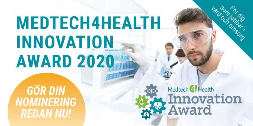 Grafisk bild med information om Innovation Award 2020 dit man nu kan nominera till priset som delas ut 2020