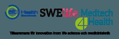 Bild med logotyper för EIT HEalth, Swelife och Medtech4Health